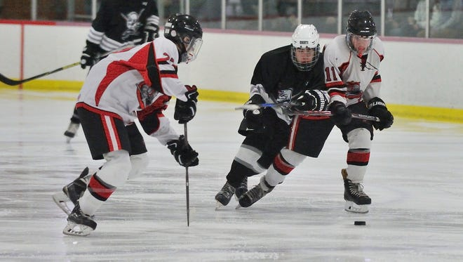 Passaic County ice hockey finalists Lakeland (red) and Wayne (black) both qualified for the 2018 state hockey tournament.