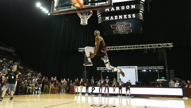 Mississippi State sophomore Xavian Stapleton won the dunk contest during Maroon Madness in October.