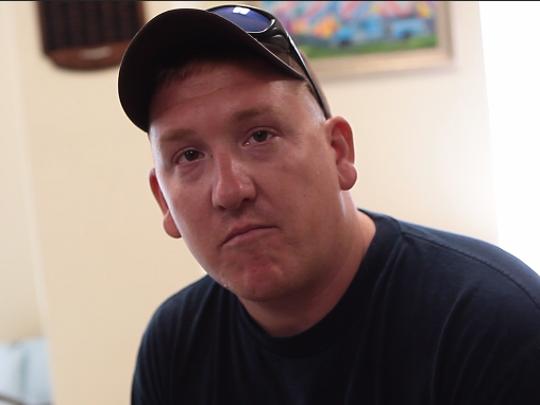 Fulton volunteer firefighter Adam Bagley describes finding town in total destruction after Hurricane Harvey.
