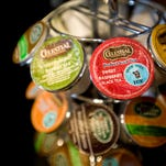 A display of disposable and non-recyclable Keurig K-Cups features coffee and tea options for customers at Green Mountain Coffee Roasters Cafe in Waterbury, Vt.