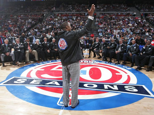 The Detroit Pistons named their All-Time team as part of the 50th season celebration  April 8, 2008 at the Palace of Auburn Hills. Former Piston Isiah Thomas talks to the fans during the celebration.