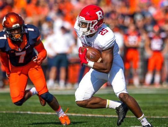 Rutgers running back Raheem Blackshear (25) runs past