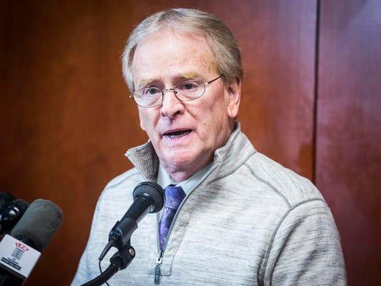 Mayor Dennis Tyler addresses media during a press conference