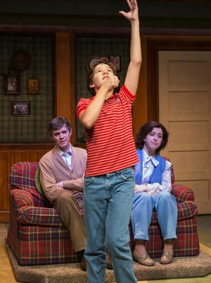 """A scene from """"Trevor the Musical,"""" in which a 13-year-old boy who idolizes LGBT icon Diana Ross comes out, at Writers Theatre in Chicago."""