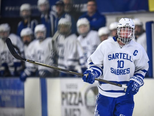 Sartell's Spencer Meier skates Jan. 7, during a game