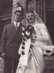 Katie Mistlebauer and Lawrence Hartl wed at St. Joseph's Church in Sturgeon Bay on Aug. 20, 1949.