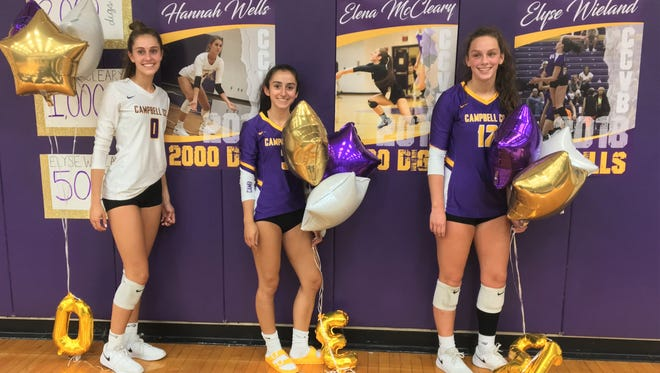 Campbell County seniors with their awards, from left, Hannah Wells, Elena McCleary and Elyse Wieland, Sept. 17, 2018.