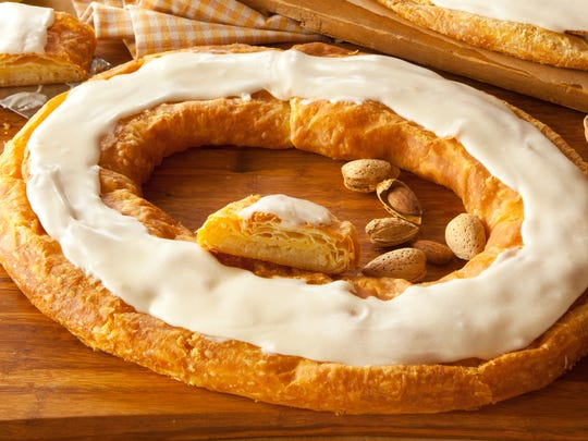 An almond Kringle from O&H Danish Bakery in Racine, Wisconsin. Those of us on the East Coast can find them at Trader Joe's.
