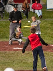 Melanie Hall, Vermonster player, goes to bat, Saturday, at a whiffle ball tournament at Little Fenway in Essex, to benefit the Strike 3 foundation.