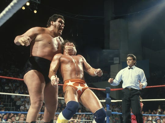 """Andre the Giant and Randy Savage are seen in """"Andre"""