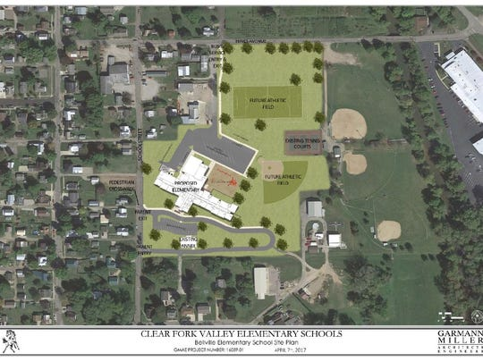 Architects at Garmann Miller created this site plan for the new Bellville Elementary School.