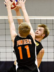 Red Lion's Bennett Frey, back, controls the ball while