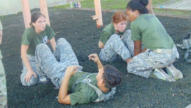 Port St. Lucie High School Jaguar Cadets completing the PT test in the Raider Challenge.