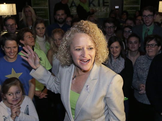 Salt Lake City Mayor Jackie Biskupski speaks to supporters at her election night party, Tuesday, Nov. 3, 2015, in Salt Lake City.