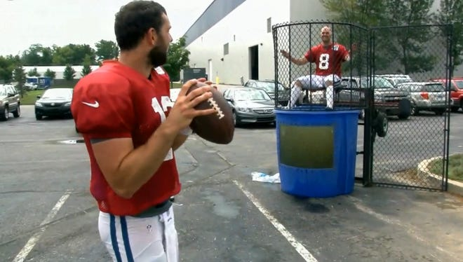 Andrew Luck preparing to dunk his backup QB