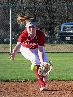 Albany shortstop Aubrey Moon fields a grounder during AHS' 5-0 win over Haskell on Tuesday, March 20, 2018 in Albany.