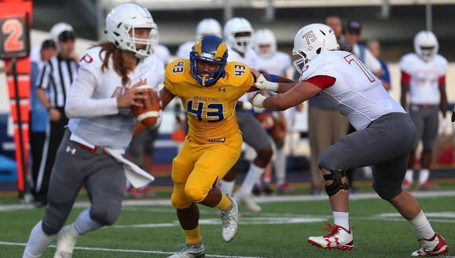 Angelo State defensive end Markus Jones led the nation last year with seven blocked kicks. He had another one in last week's season-opening win against McKendree University.