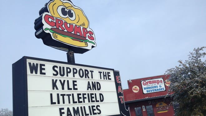 "Residents and business owners in Stephenville, Texas, showed their support for the victims of the ""American Sniper"" murder trial."