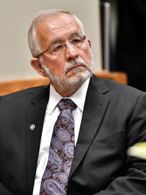 Former MSU Dean of Osteopathic Medicine William Strampel appears in 54B District Court Thursday morning, May 3, 2018, for a motion hearing in Judge Richard Ball's court.  The hearing was on a motion from the Attorney General's Office filed in an effort to have additional evidence admitted for the preliminary hearing.
