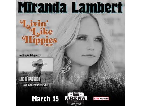 Win a pair of tickets to see Miranda Lambert with Jon Pardi and Ashley McBryde. Enter 11/1-11/26