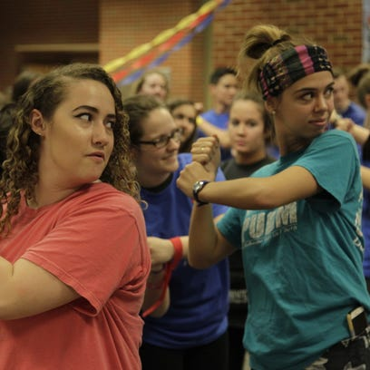 Students practice dance moves Saturday, March 25, 2017,