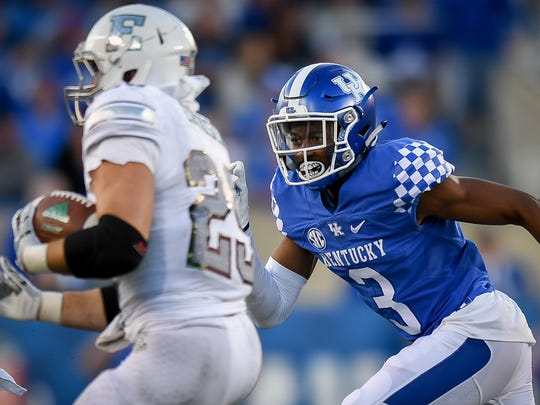 Kentucky Wildcats cornerback Jordan Griffin (3) chases down Eastern Michigan Eagles running back Joshuwa Holloman (29) during the game at Kroger Field on the campus of TheUniversity of Kentucky in Lexington, Ky, Saturday, September 30, 2017.