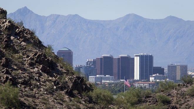 The Arizona Republic The Phoenix skyline is clear from Piestewa Peak, looking south toward South Mountain.