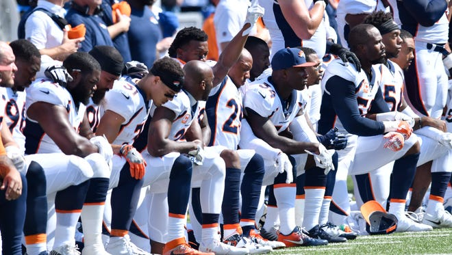 Many members of the Denver Broncos chose to kneel during the national anthem prior to Week 3's game at Buffalo.