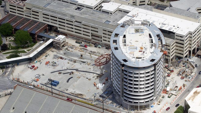 This file photo from June shows construction on the University of Iowa Children's Hospital.