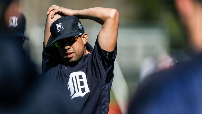 Tigers pitcher Francisco Rodriguez stretches his arm, during Detroit Tigers spring training at Joker Marchant Stadium in Lakeland, Fla. on Friday, Feb. 26, 2016.