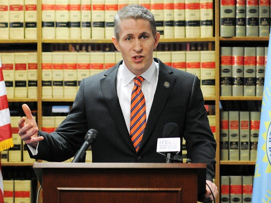 In this Feb 8, 2015, file photo, former South Dakota U.S. Attorney Brendan Johnson speaks during a news conference at the U.S. Attorney's Office in Sioux Falls.