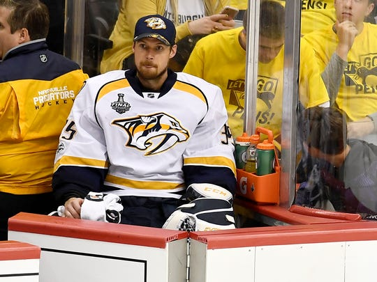 Nashville Predators goalie Pekka Rinne (35) sits on the bench midway through the third period of game 2 in the Stanley Cup Final at PPG Paints Arena  Wednesday, May 31, 2017, in Pittsburgh, Pa.