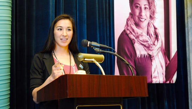 Jennifer Han, the 2015 International Boxing Federation female featherweight world champion and El Paso native, speaks a at the WE (Women Entrepreneurs) Mean Business conference on Sept. 10 in Las Cruces.