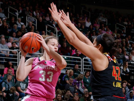 Michigan State's Jenna Allen, left, looks to get around