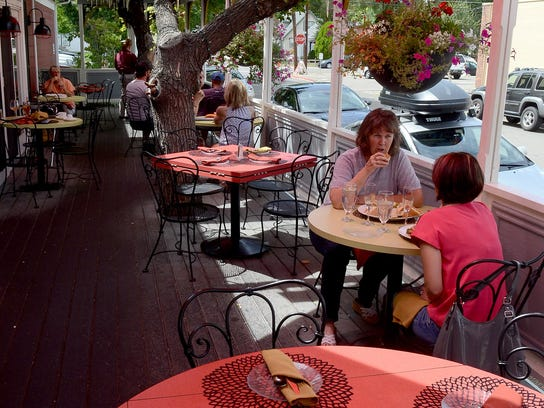 The terrace at Adele's in Carson City is a later addition to the classic 1864 Comstock-era residence.
