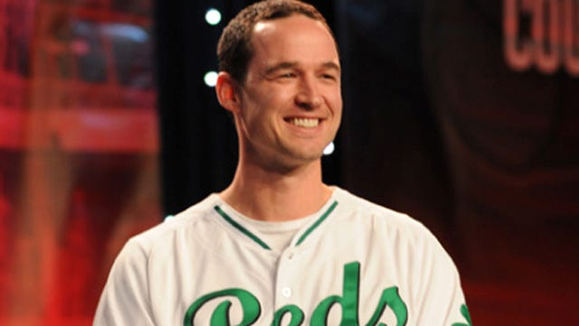 Jack Hannahan wears the St. Patrick's Day uniform during Redsfest in December.