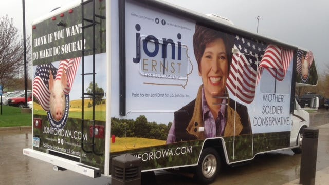 Republican U.S. Senate candidate Joni Ernst has a new mode of transportation: an RV wrapped in campaign messaging.