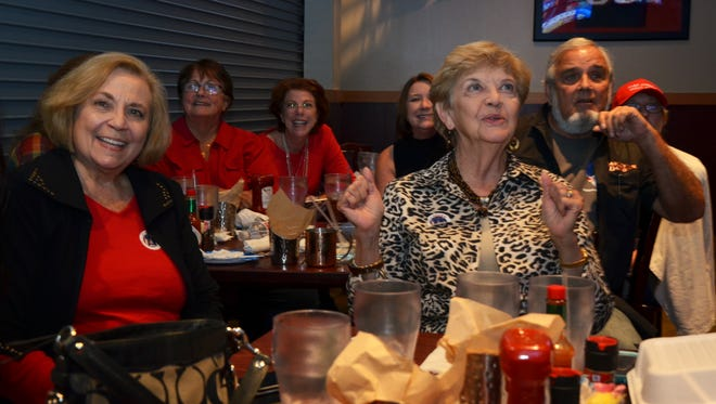 Members of the Acadiana Women's Republican club of Lafayette gathered for a Presidential Election Day watch party at Walk On's Tuesday night.