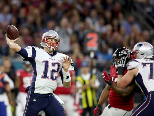 New England Patriots QB Tom Brady in action against the Atlanta Falcons at Super Bowl 51 on Sunday, February 5, 2017 in Houston. The Patriots won 34-28.