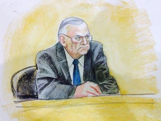 A sketch of Sheriff Joe Arpaio testifying in federal