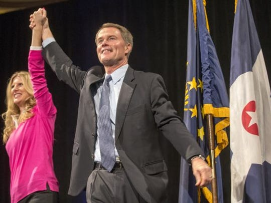 Mayor-elect Joe Hogsett was introduced with his wife, Stephanie, at the Democratic celebration at Union Station in Downtown Indianapolis.
