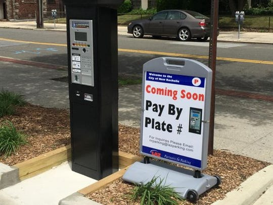 Parking meter of the future announced last year in New Rochelle.