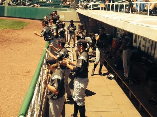 Pine View players cheer on their teammates during a game against Desert Hills in the 3A state baseball playoffs on Thursday, May 15, 2014. File, got the game-winning hit with his home run in the top of the sixth inning and is now the star pitcher for Dixie State.