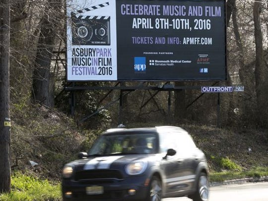 A billboard on Asbury Ave. advertising the AP Music