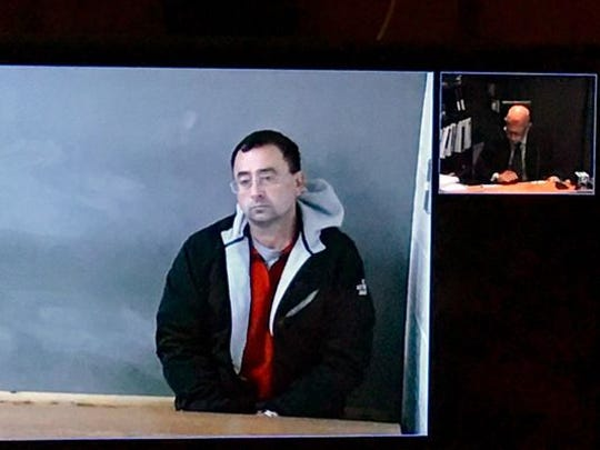 Dr. Larry Nassar during a court appearance via a video