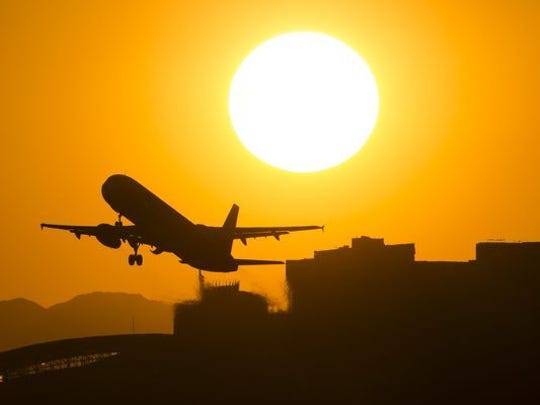 A jet takes off from Sky Harbor International Airport