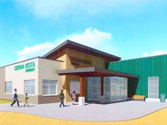 An architectural rendering shows the new entrance to Sierra Vista Primary.