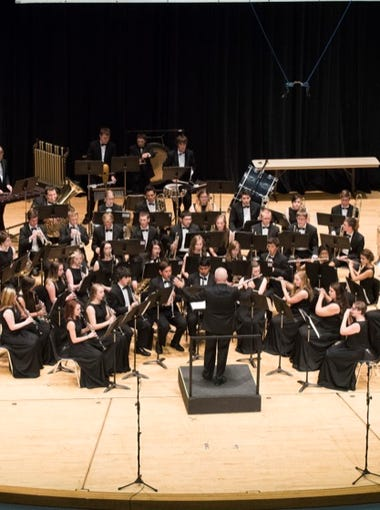 The Ridgeview High School Band competes in the 5A OSAA Band State Competition at Oregon State University on May 15.