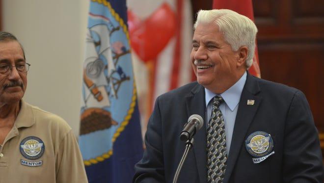 Joe Parsetich, administrator of the Great Falls Veterans Mentoring Veterans program, speaks at a veterans treatment court ceremony on Aug. 22, 2017.