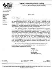 A letter to SMILE CEO Chris Williams placing him on